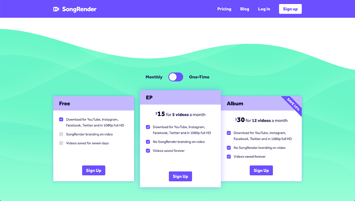 songrender's pricing scale