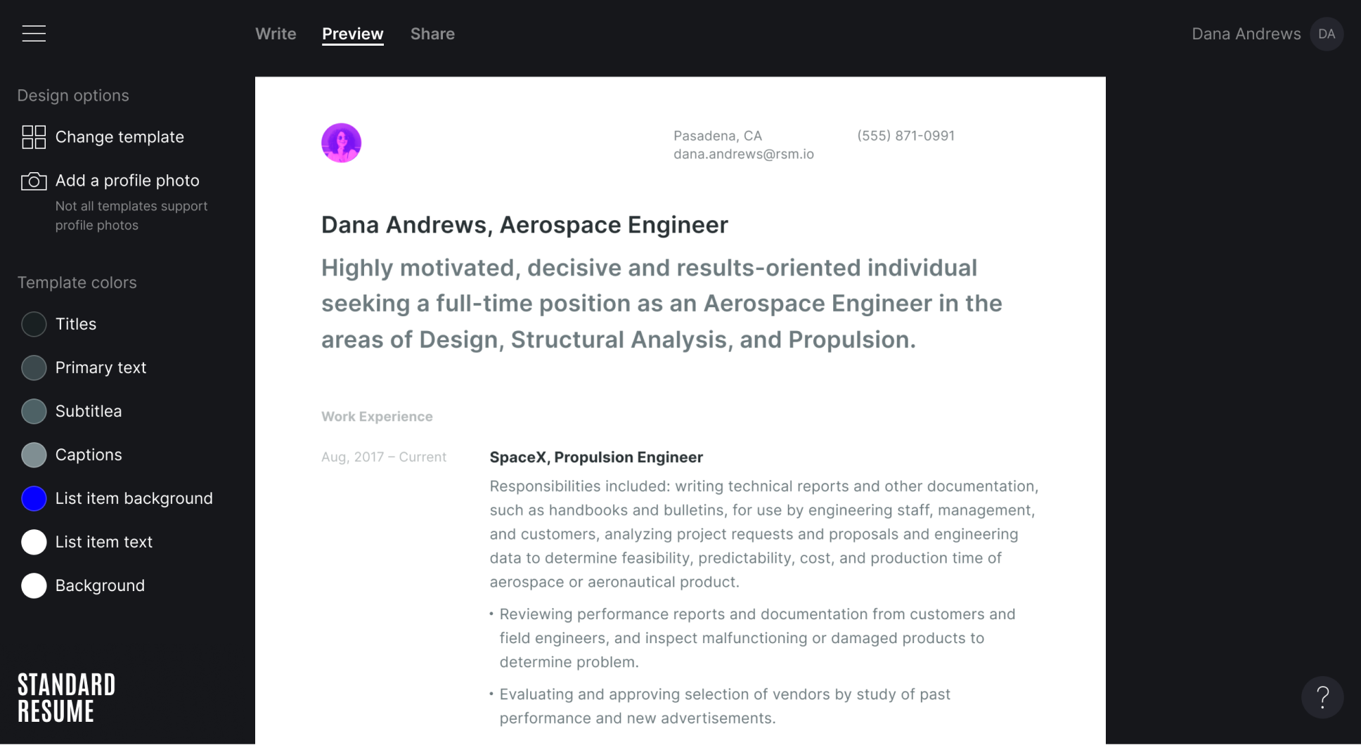 a sample resume