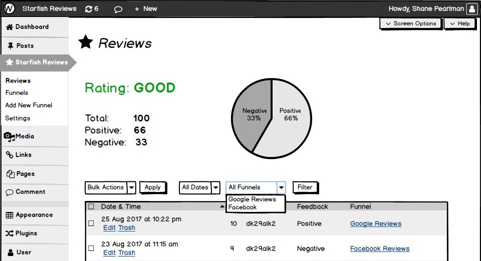 Balsamiq mockup of the reviews data interface