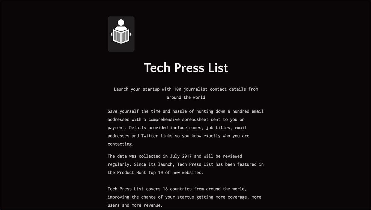 Tech Press List website