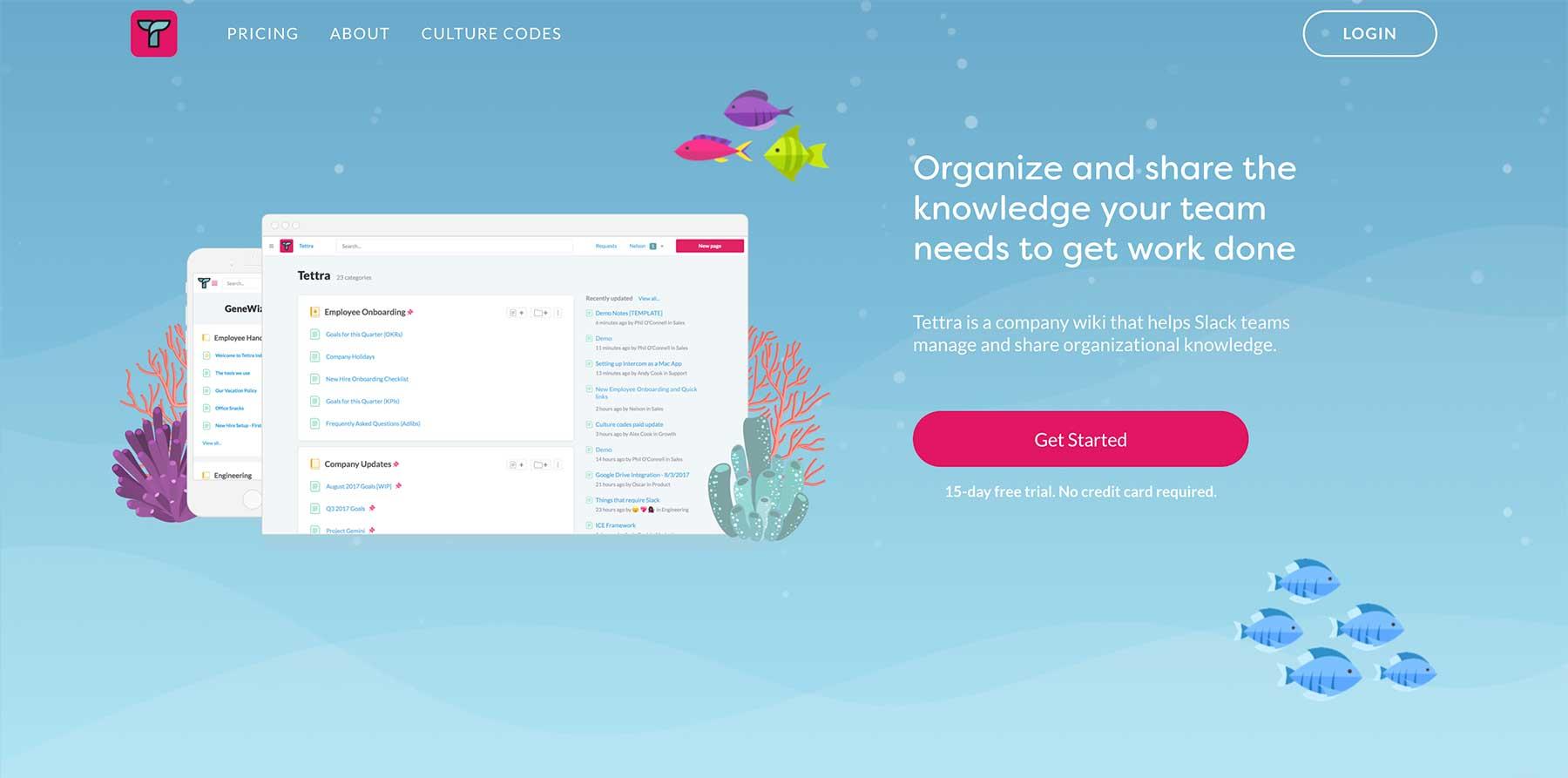 Tettra homepage