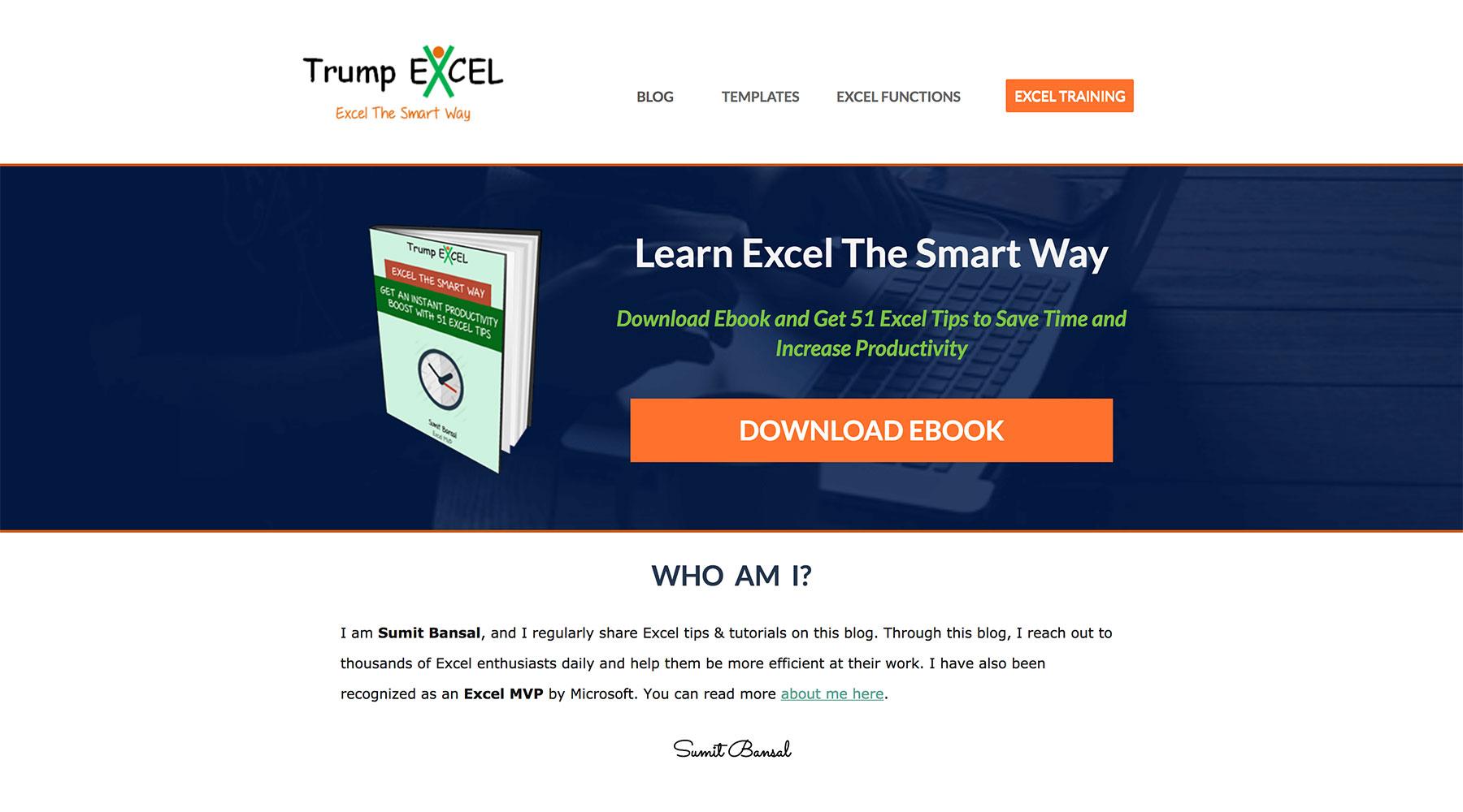 Trump Excel website