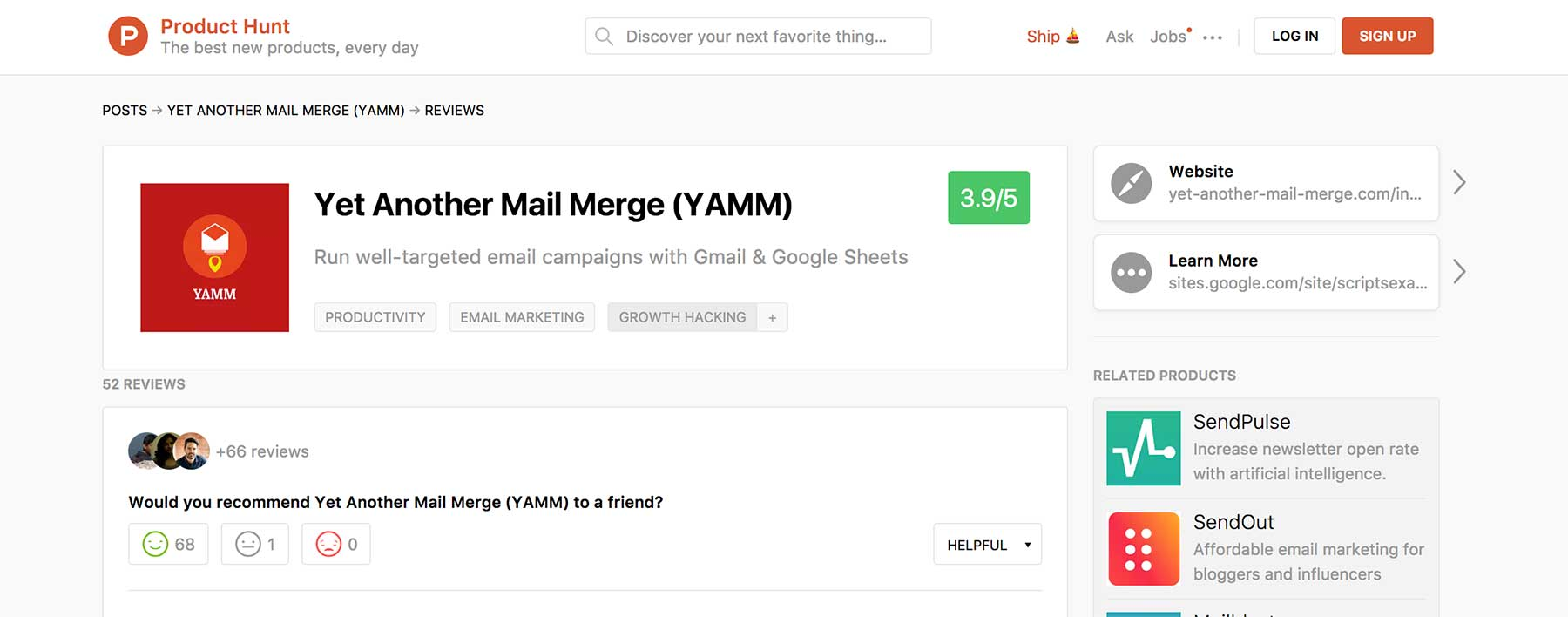 Yet Another Mail Merge on Product Hunt
