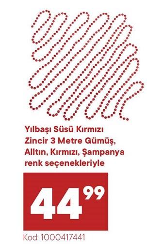 Yılbaşı Süsü Kırmızı Zincir 3 metre image