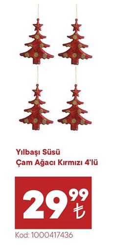 Yılbaşı Süsü Çam Ağacı Kırmızı 4'lü image