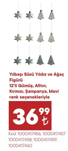 Yılbaşı Süsü Yıldız ve Ağaç Figürü 12'li image