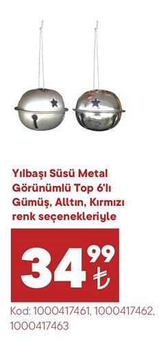Yılbaşı Süsü Metal Görünümlü Top 6'lı image