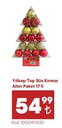 Yılbaşı Top Süs Kırmızı Altın Paket 17'li image