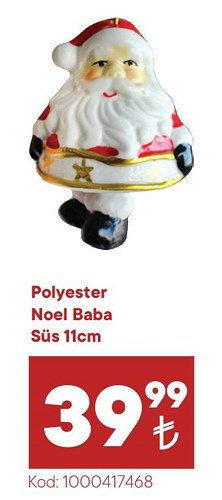 Polyester Noel Baba Süs 11 cm image