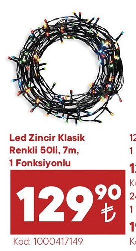 Led Zincir Klasik Renkli 50'li 7 m image