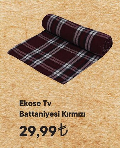 Ekose Tv Battaniyesi Kırmızı image