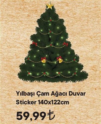 Yılbaşı Çam Ağacı Duvar Sticker 140x122 cm image