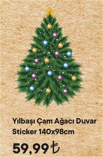 Yılbaşı Çam Ağacı Duvar Sticker 140x98 cm image