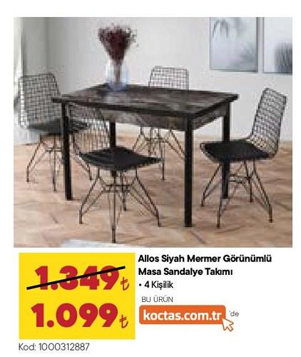 Allos Siyah Mermer Görünümlü Masa Sandalye Takımı 4 Kişilik image