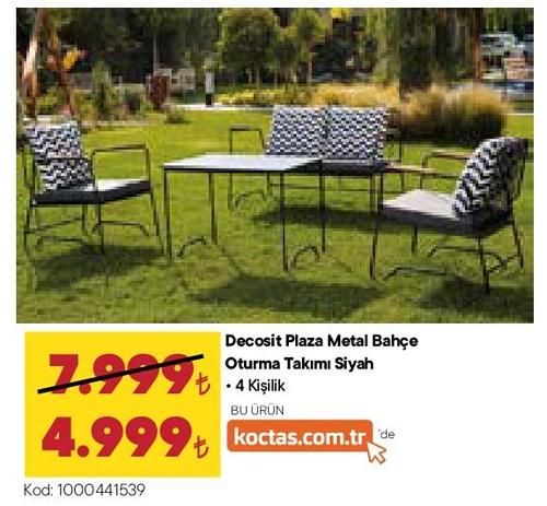 Decosit Plaza Metal Bahçe Oturma Takımı Siyah 4 Kişilik image