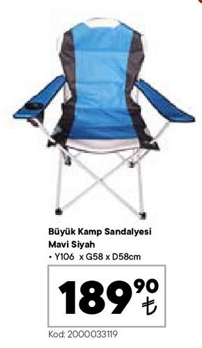 Büyük Kamp Sandalyesi Mavi Siyah 106x58x58 cm image