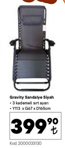 Gravity Sandalye Siyah 113x67x165 cm image