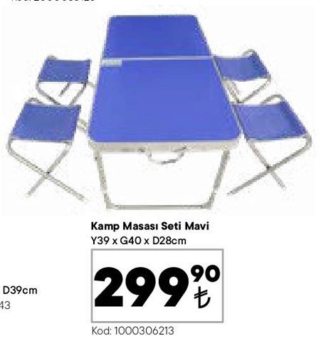 Kamp Masası Seti Mavi 39x40x28 cm image