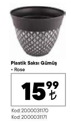 Plastik Saksı Gümüş Rose image