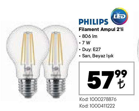 Philips Filament Ampul 2'li image