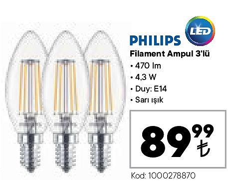 Philips Filament Ampul 3'lü image