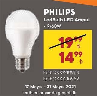 Philips LedBulb Led Ampul 9/60 W image