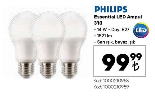 Philips Essential Led Ampul 3'lü 14 W image