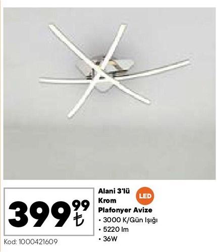Alani 3'lü Led Krom Plafonyer Avize 36 W image