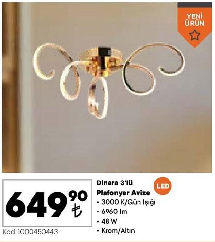 Dinara 3'lü Plafonyer Avize 48 W image