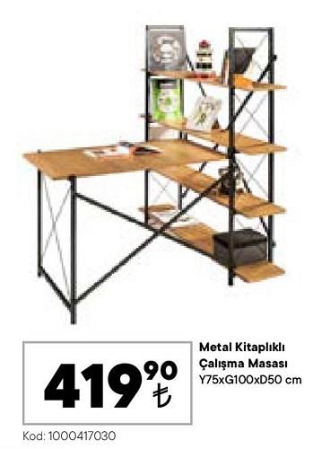 Metal Kitaplıklı Çalışma Masası Y75xG100xD50 cm image
