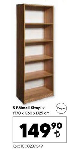 5 Bölmeli Kitaplık Y170xG60xD25 cm Beyaz image