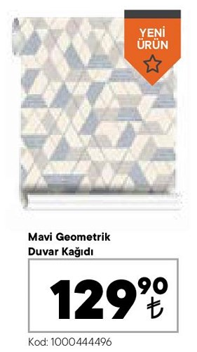 Mavi Geometrik Duvar Kağıdı image