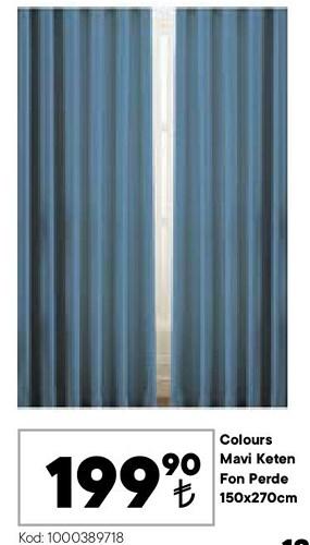 Colours Mavi Keten Fon Perde 150x270 cm image
