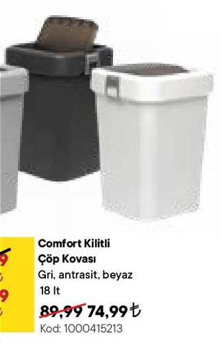 Comfort Kilitli Çöp Kovası 18 lt image