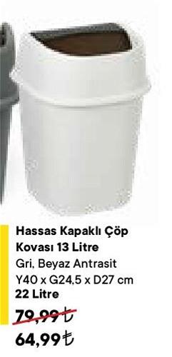 Hassas Kapaklı Çöp Kovası 22 lt image