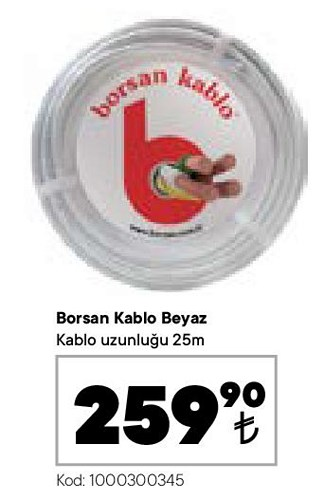 Borsan Kablo Beyaz 25 m image