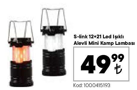 S-Link 12-21 Led Işıklı Alevli Mini Kamp Lambası image
