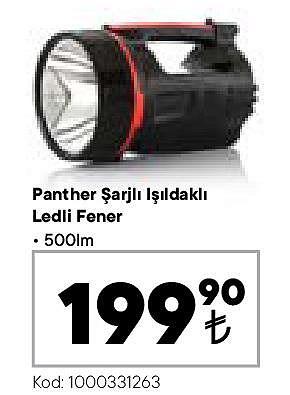 Panther Şarjlı Işıldaklı Ledli Fener 500Im image