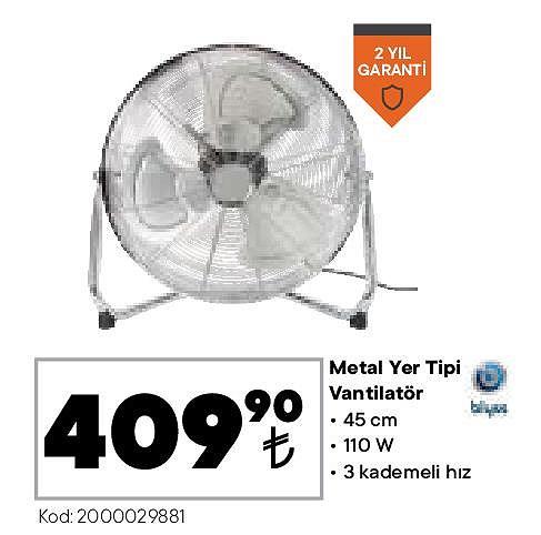 Blyss Metal Yer Tipi Vantilatör 110 W image