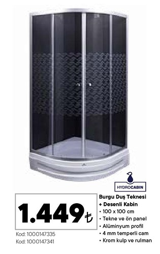 Hydrocabin Burgu Duş Teknesi+Desenli Kabin 100x100 cm image