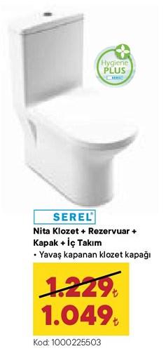 Serel Nita Klozet+Rezervuar+Kapak+İç Takım image