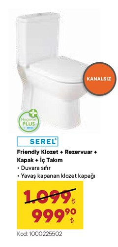 Serel Friendly Klozet + Rezervuar + Kapak + İç Takım image