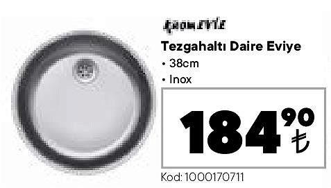 Kromevye Tezgahaltı Daire Eviye 38 cm Inox image