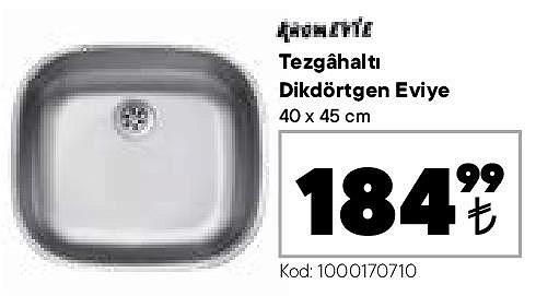 Kromevye Tezgahaltı Dikdörtgen Eviye 40x45 cm image