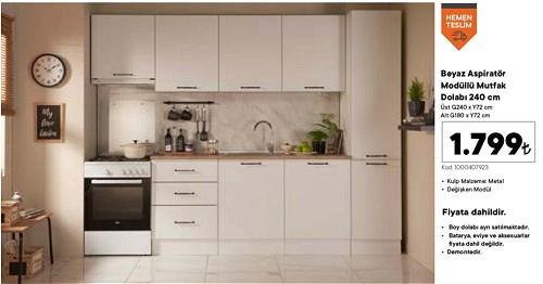 Beyaz Aspiratör Modüllü Mutfak Dolabı 240 cm image