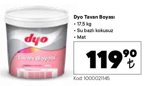 Dyo Tavan Boyası 17,5 kg Mat image