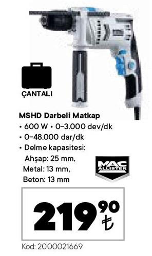 Mac Allister MSHD Darbeli Matkap 600 W image