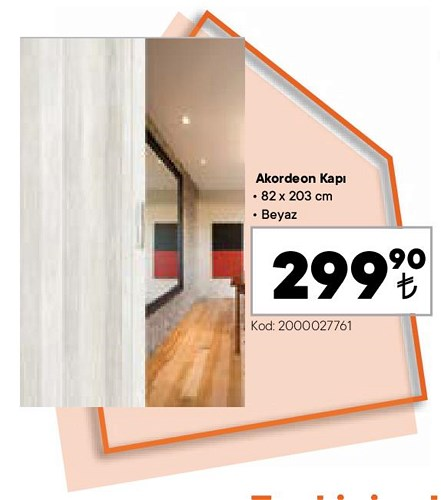 Akordeon Kapı 82x203 cm Beyaz image