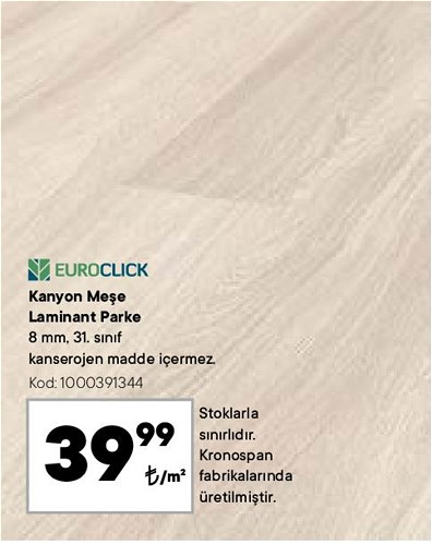 Euroclick Kanyon Meşe Laminant Parke m² image