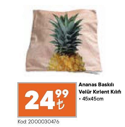 Ananas Baskılı Velür Kırlent Kılıfı 45x45 cm image